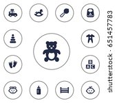 set of 13 baby icons set... | Shutterstock .eps vector #651457783