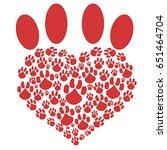 red heart pet paw | Shutterstock .eps vector #651464704