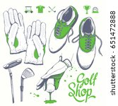 golf set with  shoes  putter ... | Shutterstock .eps vector #651472888