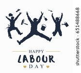 silhouette of happy workers... | Shutterstock .eps vector #651488668