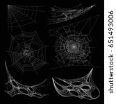 spiderweb or spider web cobweb... | Shutterstock .eps vector #651493006