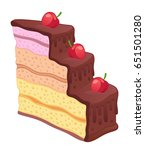 three layer piece of cake on a... | Shutterstock .eps vector #651501280