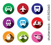 colorful transportation icons.... | Shutterstock .eps vector #651502660