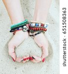 hands with sand  forming heart. ... | Shutterstock . vector #651508363