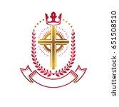 christian cross golden emblem... | Shutterstock .eps vector #651508510