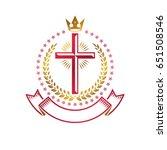 christian cross golden emblem...   Shutterstock .eps vector #651508546
