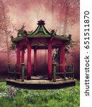 Colorful Oriental Gazebo In An...