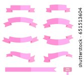 vector set pink ribbons banner... | Shutterstock .eps vector #651513604
