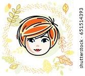 cute girls face  human head.... | Shutterstock .eps vector #651514393