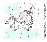 magic cute unicorn  stars ... | Shutterstock .eps vector #651523189