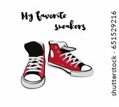 sneakers converse shoes pair... | Shutterstock .eps vector #651529216