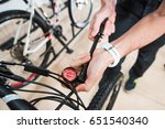 closeup of male hands measuring ... | Shutterstock . vector #651540340