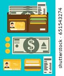 wallet open in flat style with... | Shutterstock .eps vector #651543274