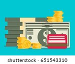 cash vector illustration. stack ... | Shutterstock .eps vector #651543310