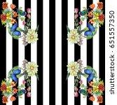 stripes flower pattern fashion...   Shutterstock . vector #651557350