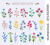 watercolor colorful flowers set | Shutterstock . vector #651563500