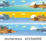 a set of panoramic landscapes... | Shutterstock .eps vector #651566008