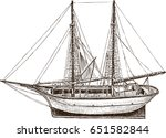 drawing of a sailing fishing...   Shutterstock .eps vector #651582844