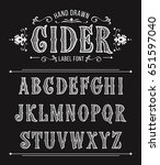 vintage cider label font for... | Shutterstock .eps vector #651597040