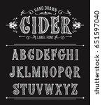 vintage cider label font for... | Shutterstock .eps vector #651597040