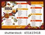 barbecue restaurant menu.... | Shutterstock .eps vector #651615418