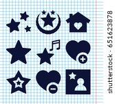 set of 9 favorite filled icons... | Shutterstock .eps vector #651623878
