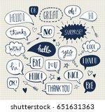 set of cute vector doodle... | Shutterstock .eps vector #651631363