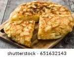 traditional spanish omelette on ... | Shutterstock . vector #651632143