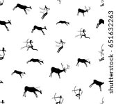 rock paintings with hunting... | Shutterstock .eps vector #651632263