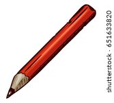vector cartoon old red pencil... | Shutterstock .eps vector #651633820