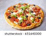 pizza with dry cured ham and...   Shutterstock . vector #651640300