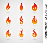 raster version. fire icons set. ... | Shutterstock . vector #651641260