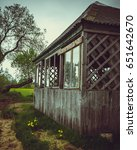Small photo of Small wooden summer house, summer holidays