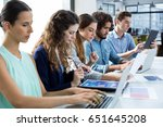 business team working on laptop ... | Shutterstock . vector #651645208