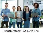 portrait of smiling business... | Shutterstock . vector #651645673