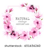 natural greeting card with pink ... | Shutterstock .eps vector #651656260