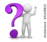 question mark 3d purple man... | Shutterstock . vector #651658813