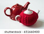 red teapot and red sweater cozy ...