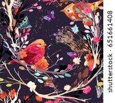 vintage seamless pattern bird ... | Shutterstock .eps vector #651661408
