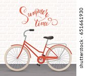 retro bicycle with summer... | Shutterstock .eps vector #651661930