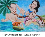 a young family on vacation on... | Shutterstock . vector #651673444