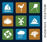wind icons set. set of 9 wind... | Shutterstock .eps vector #651674188
