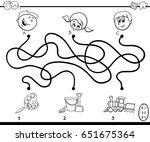 black and white cartoon vector... | Shutterstock .eps vector #651675364