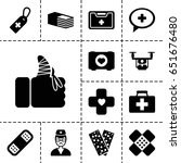 aid icon. set of 13 filled... | Shutterstock .eps vector #651676480