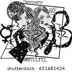 zodiac signs gemini     vector... | Shutterstock .eps vector #651681424