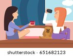 girls shooting home video at... | Shutterstock .eps vector #651682123