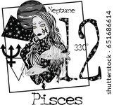 zodiac signs pisces    vector... | Shutterstock .eps vector #651686614