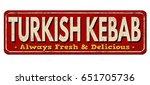 turkish kebab vintage rusty... | Shutterstock .eps vector #651705736