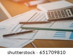 office supplies on wood table   ...   Shutterstock . vector #651709810