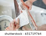 putty knife with orange handle   Shutterstock . vector #651719764